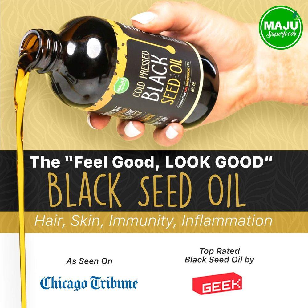 MAJU's Black Seed Oil: 3X% Thymoquinone, Cold Pressed, no Pesticides, 100% Turkish Black Cumin Nigella Sativa Seed Oil (Better Than Organic), Non-GMO, 100% Liquid Pure Blackseed Oil, Glass Bottle