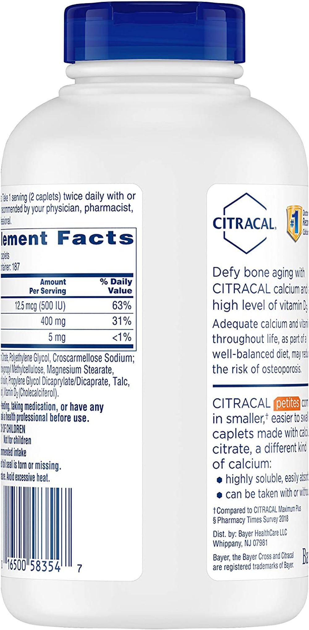 Citracal Petites, Highly Soluble, Easily Digested, 400 mg Calcium Citrate with 500 IU Vitamin D3, Bone Health Supplement for Adults, Relatively Small Easy-to-Swallow Caplets, 375 Count