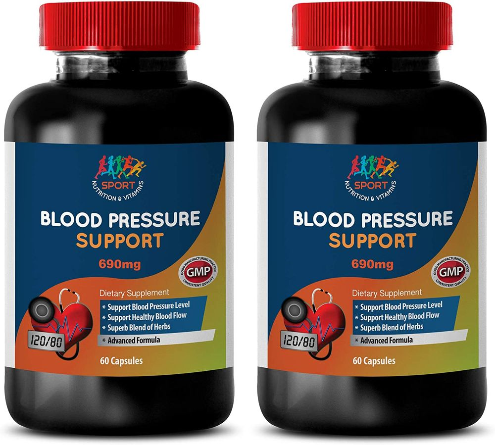 Energy Vitamins - Blood Pressure Support 690MG - Advanced Formula - Energy Booster for Men - 2 Bottles (120 Capsules)