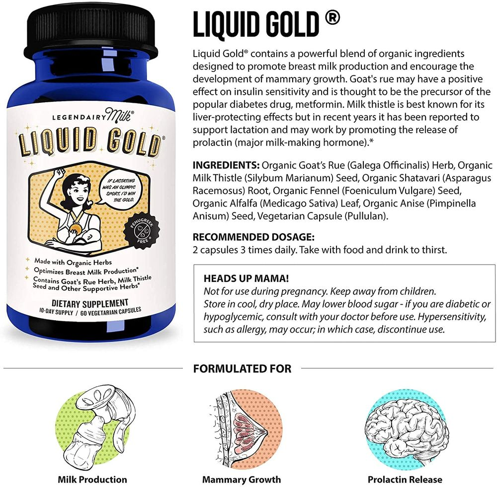 Legendairy Milk® Liquid Gold® - Herbal Breastfeeding Supplement to Increase Milk Supply - Contains Goats Rue and Milk Thistle