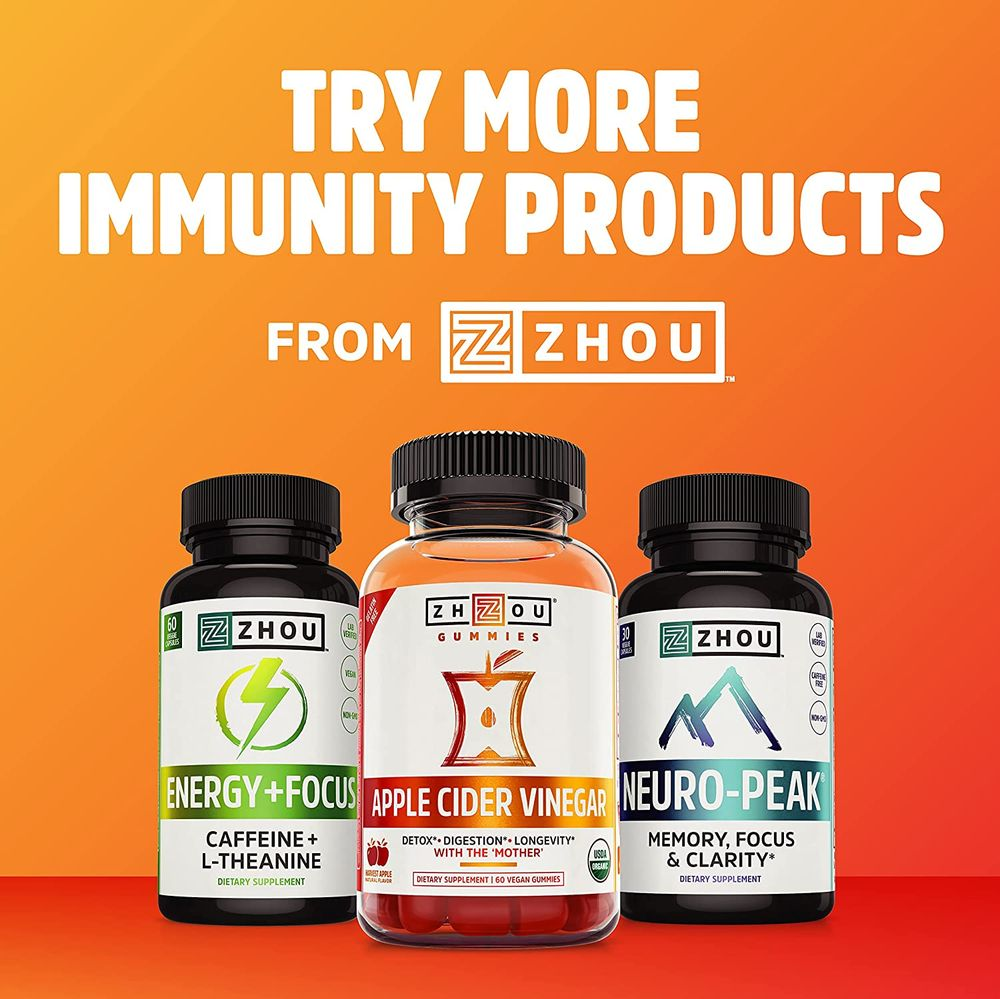 ZHOU Thyroid Support Complex with Iodine | Energy, Metabolism & Focus Formula | Vegetarian, No Soy or Gluten | 30 Servings, 60 Caps