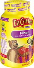 Lil Critters Kids Fiber Gummy Bears Supplement, Multi Color, Naturally sourced berry, strawberry and lemon flavors, 90 Count