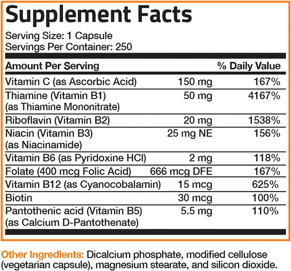 Bronson Vitamin B Complex with Vitamin C - Immune Health, Energy Support & Nervous System Support - Non-GMO, 250 Vegetarian Capsules