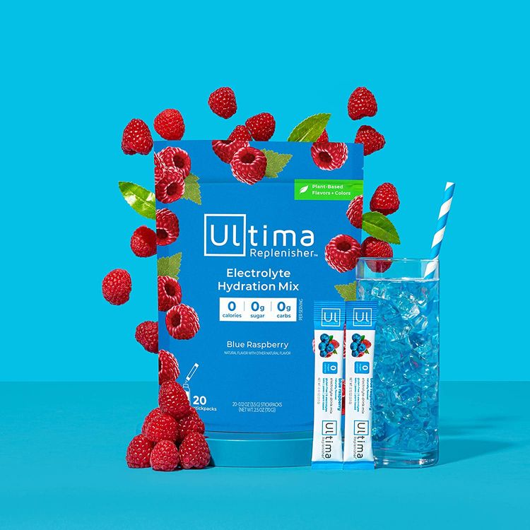 Ultima Replenisher Electrolyte Hydration Powder, Blue Raspberry, 20 Count Stickpacks Pouch - Sugar Free, 0 Calories, 0 Carbs - Gluten-Free, Keto, Non-GMO with Magnesium, Potassium