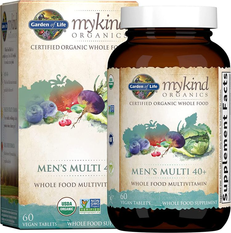 Garden of Life mykind Organics Whole Food Multivitamin for Men 40+, 60 Tablets, Vegan Mens Multi for Health, Well-being Certified Organic Whole Food Vitamins, Minerals for Men Over 40, Mens Vitamins