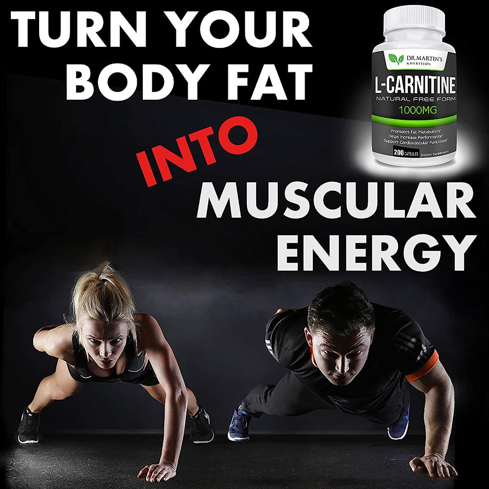 Extra Strength L-Carnitine - 200 Capsules - 1000mg Per Serving - Boost Your Metabolism and Increase Performance