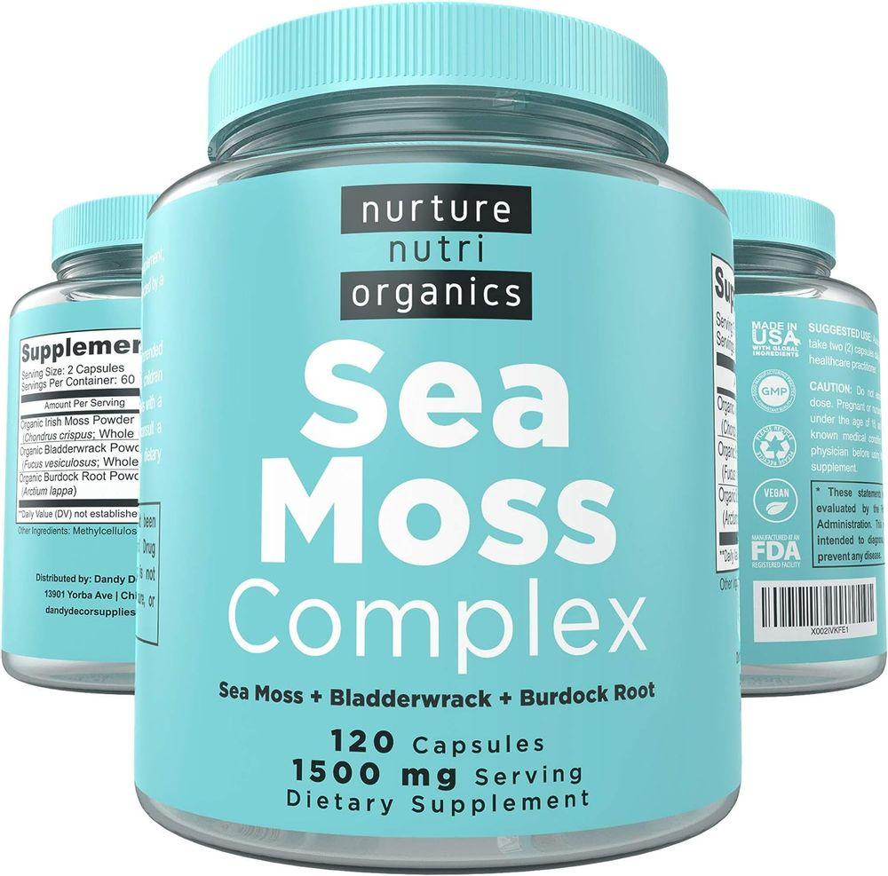 Nurture Nutri Organic Sea Moss Complex - 120 Irish Sea Moss Capsules   Sea Moss Organic   Irish Sea Moss Organic Raw   Seamoss Raw Organic   Sea Moss and Bladderwrack Capsules   Seamoss Pills  