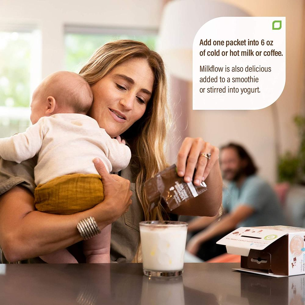 Upspring Milkflow Breastfeeding Supplement Drink Mix with Fenugreek & Blessed Thistle | Chocolate Flavor | Lactation Supplement to Promote Healthy Breast Milk Supply | 18 Drink Mixes