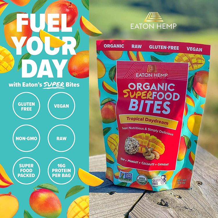 Eaton Hemp Organic Superfood Bites, Tropical Daydream, 4.8oz (12 Bites per Package), Vegan, USDA Certified Organic, Gluten-Free, Raw, Kosher, Superfood Packed, Non-GMO