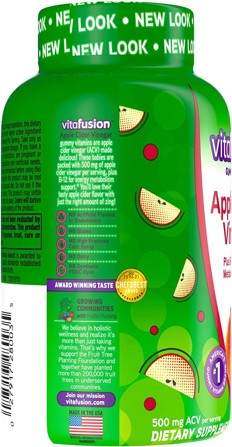 Apple Cider Vinegar Gummies from Vitafusion, America's Number One Vitamin Brand - 500mg Pure ACV Per Serving, 30 Day Supply, 60 Count (B12, Gluten-Free, Dairy-Free)