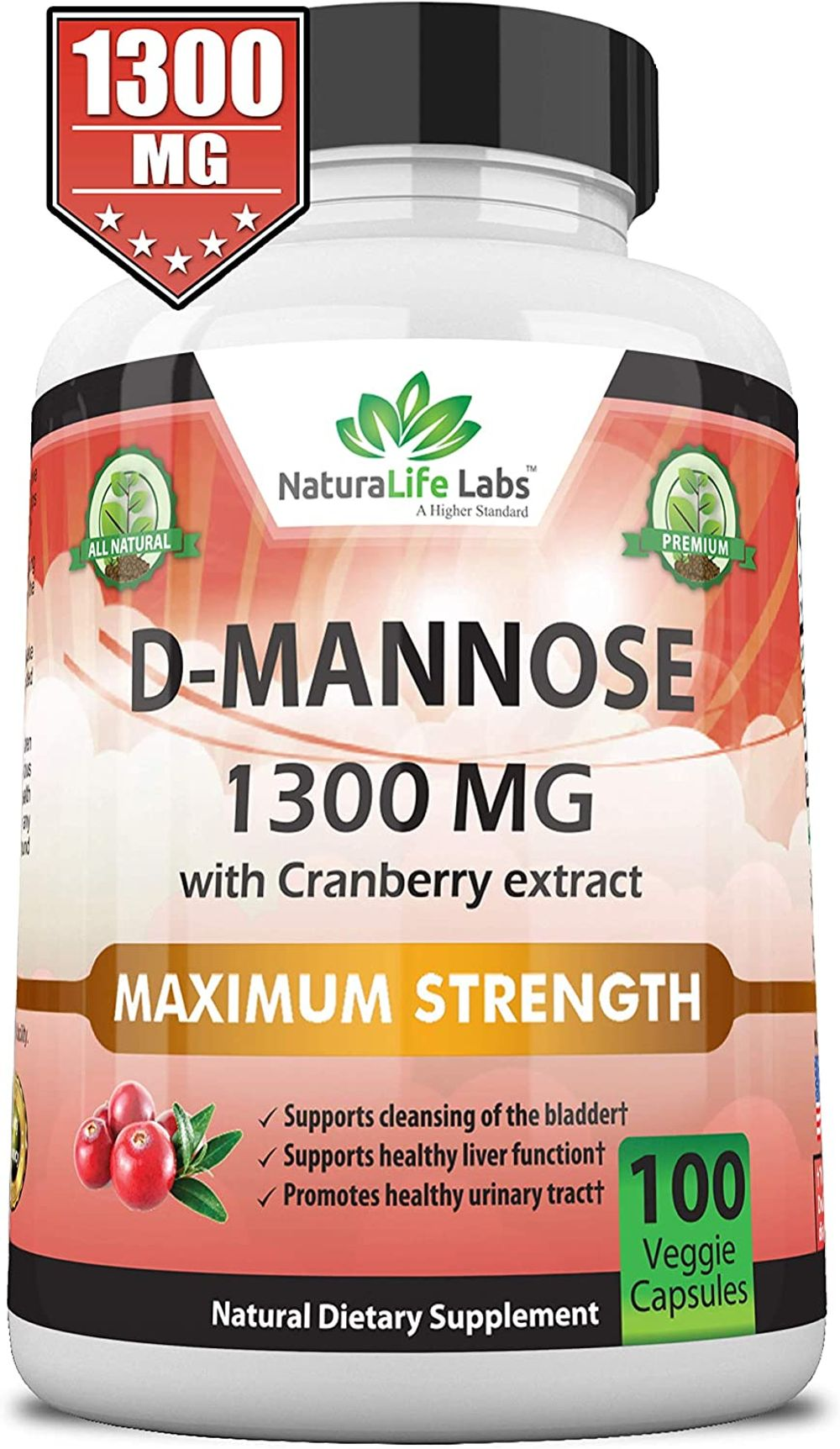 D-Mannose 1,300 mg with Cranberry Extract Fast-Acting, Flush Impurities, Natural Urinary Tract Health- 100 Veggie Capsules