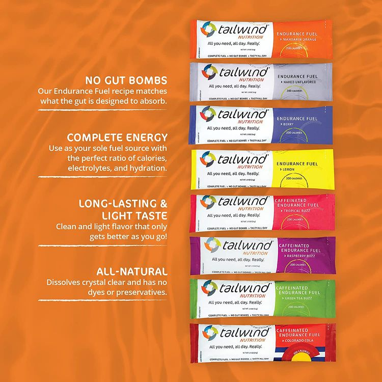 Tailwind Grab-and-Go Endurance Fuel Single Serve Assorted Flavors (Pack of 8) - Hydration Drink Mix with Electrolytes, Carbohydrates - Non-GMO, Gluten-Free, Vegan, No Soy or Dairy