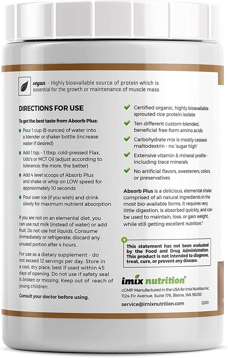 Absorb Plus Vegan Isolate Protein - Diet Supplement for Improved Gut Health, Nutritional Support, Natural Ingredients, Non-GMO, Gluten-Free, Organic Sprouted Rice Protein, Mocha Latte, 1kg