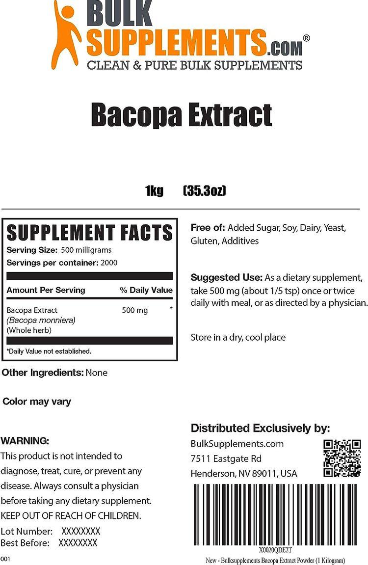 BulkSupplements.com Bacopa Extract Powder - Memory Supplements - Bacopa Monnieri - Memory Supplement (1 Kilogram - 2.2 lbs)