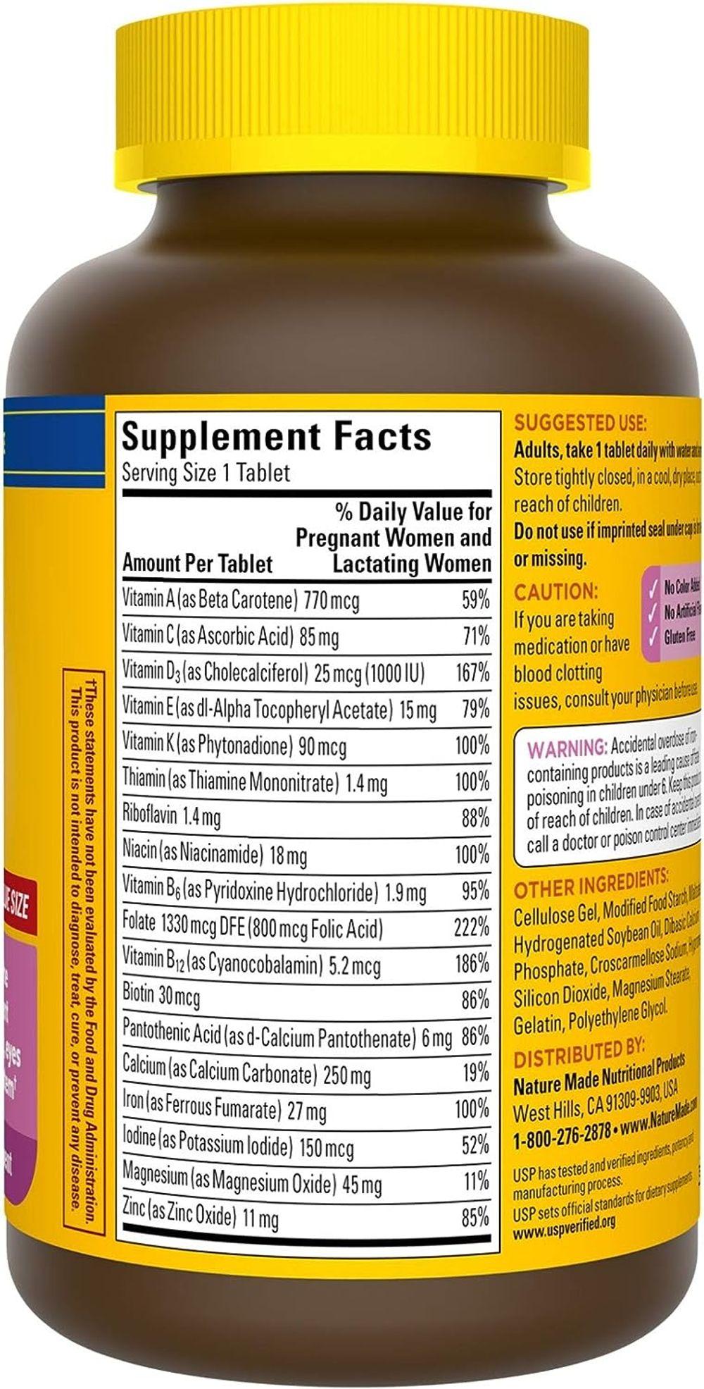 Nature Made Prenatal Multi, 250 Tablets, Folic Acid + 17 Prenatal Vitamins & Minerals to Support Baby Development and Mom, Vitamin D3, Calcium, Iron, Iodine, Vitamin C, and More