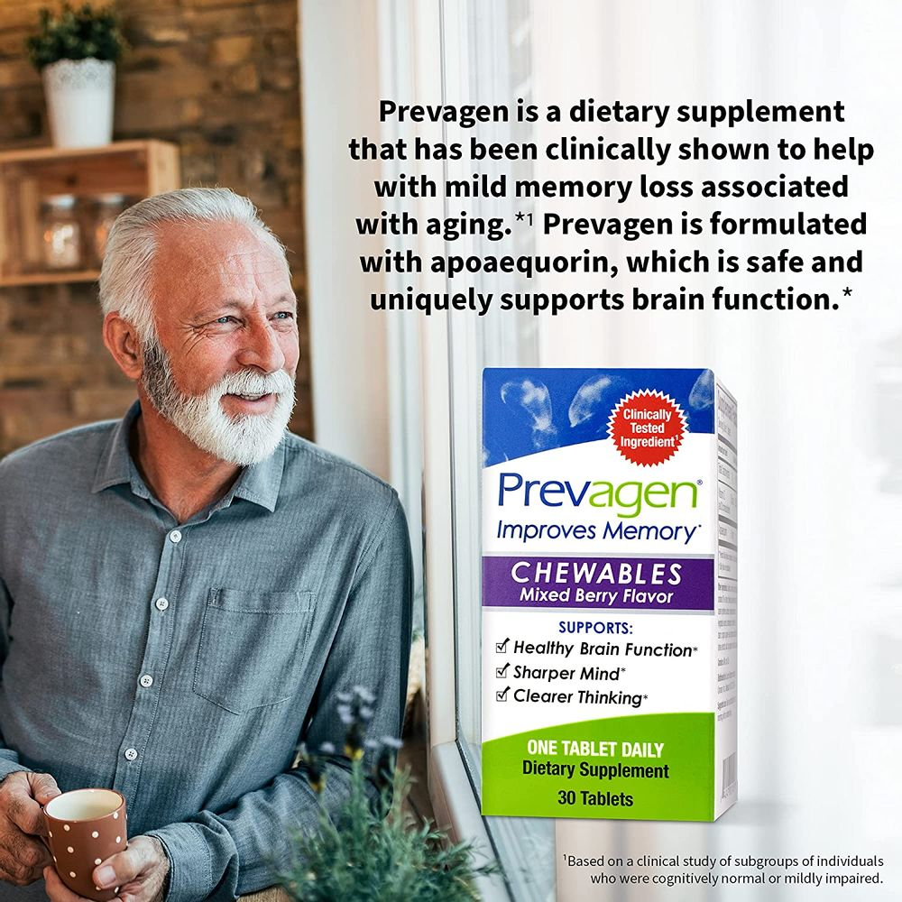 Prevagen Improves Memory - Regular Strength 10mg, 30 Chewables  Mixed Berry-2 Pack  with Apoaequorin & Vitamin D   Brain Supplement for Better Brain Health, Supports Healthy Brain Function and Clarity