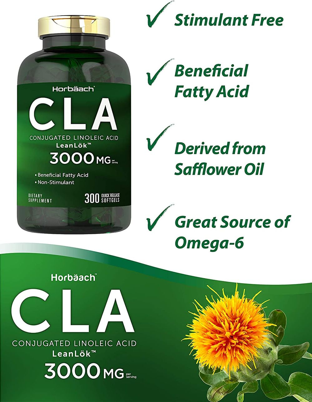 CLA 3000 mg | Maxiumum Potency | 300 Softgel Pills | Weight Loss Supplement for Women and Men | Conjugated Lineolic Acid from Safflower Oil | Non-GMO, Gluten Free | by Horbaach