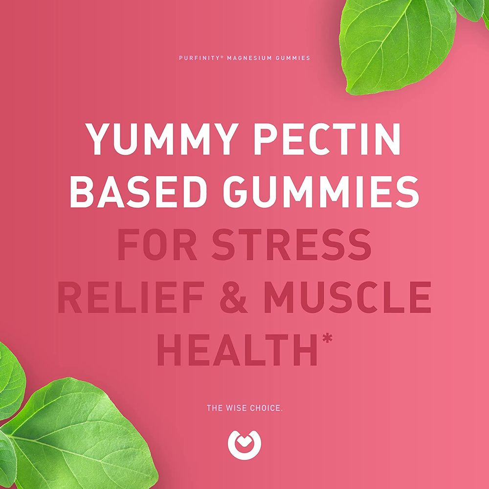 Purefinity Magnesium Gummies – 600mg Magnesium Citrate for Improved Sleep, Stress Relief, Cramp Defense & Recovery. Highly Bioavailable, Vegan & Vegetarian Gummies (not Capsules) – 60 Count.