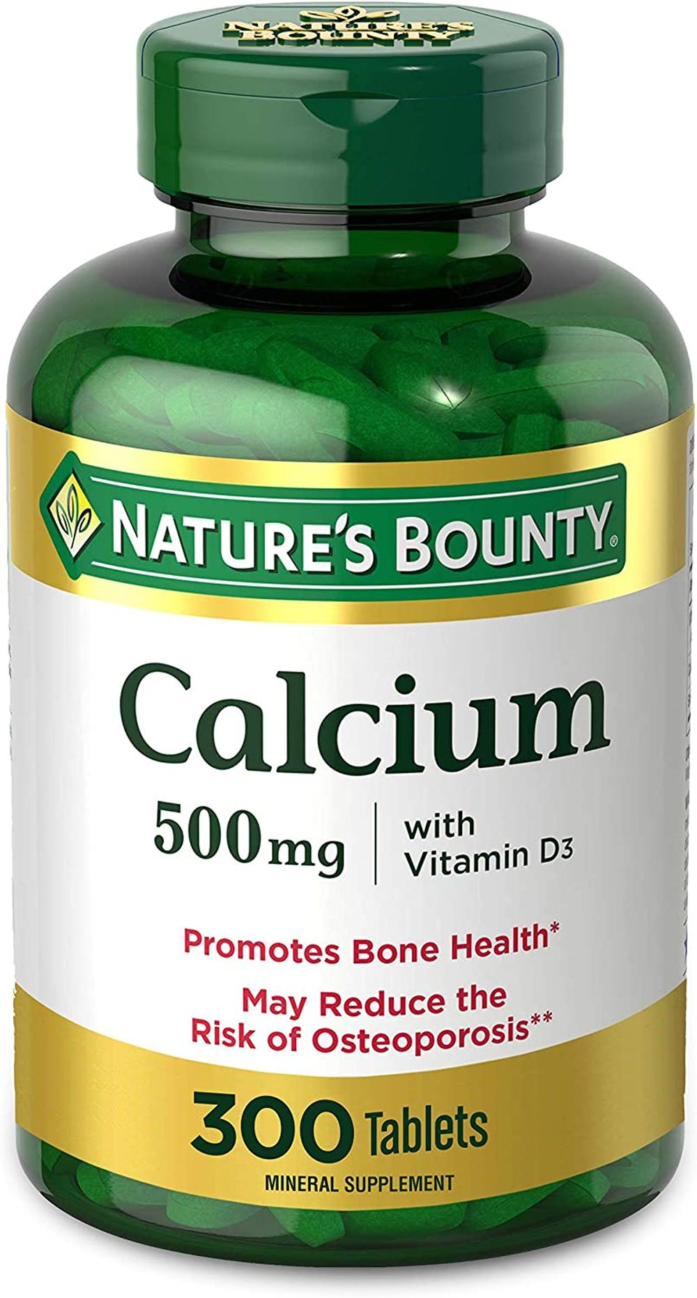 Calcium & Vitamin D by Nature's Bounty, Immnue Support & Bone Health, 500mg Calcium & 400IU D3, 300 Tablets