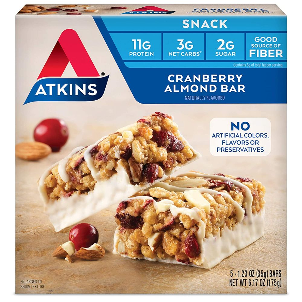 Atkins Snack Bar, Multi, Cranberry Almond, 1.23 Ounce , 5 Count