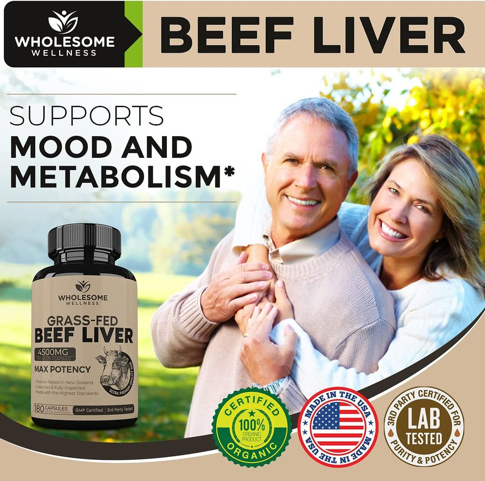 Grass Fed Desiccated Beef Liver Capsules (180 Pills, 750mg Each) - Natural Iron, Vitamin A, B12 for Energy - Humanely Pasture Raised Undefatted in New Zealand Without Hormones or Chemicals