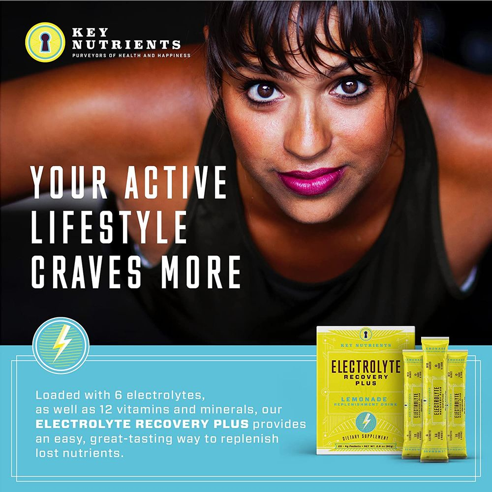 Electrolyte Powder, Lemonade Hydration Supplement: Carb, Calorie & Sugar Free, Delicious Keto Replenishment Drink Mix. 6 Key Electrolytes - Magnesium, Potassium, Calcium & More. 20 On-The-go Packets