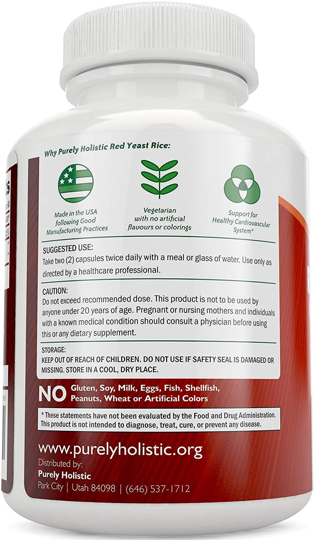 Red Yeast Rice 1200mg with CoQ10 & Flush Free Niacin 120 Vegetarian Capsules - Non Irradiated, Citrinin Free, Supports Healthy Cholesterol Levels & Cardiovascular System