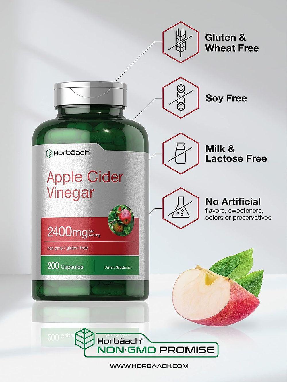 Apple Cider Vinegar Capsules | 2400mg | 200 Pills | Non-GMO, Gluten Free | by Horbaach