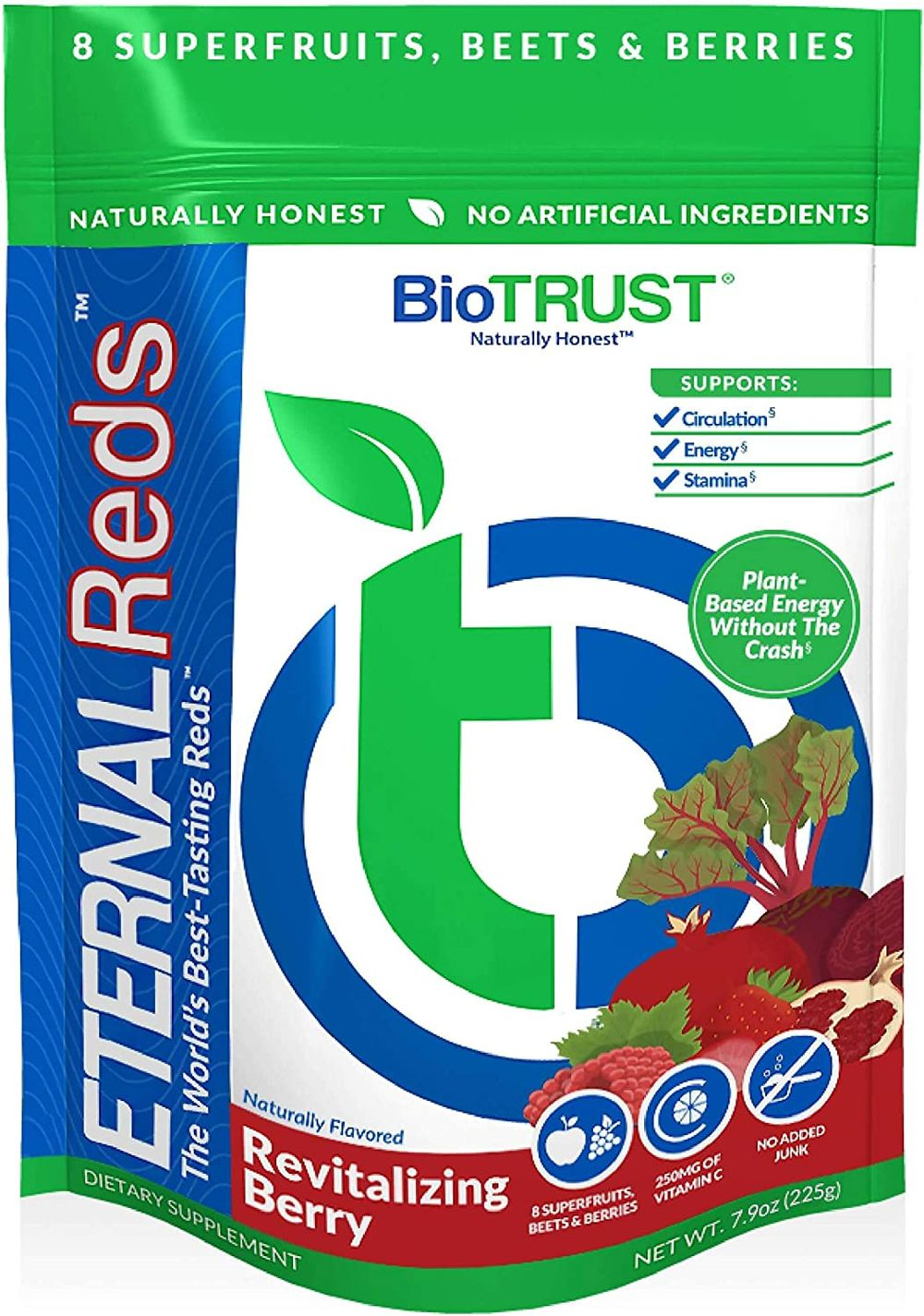 BioTrust Eternal Reds, Red Superfoods Powder, Support for Healthy Circulation, Energy, Stamina, No Added Sugar or Caffeine, Naturally Flavored and Sweetened, Berry Flavor (30 Servings)