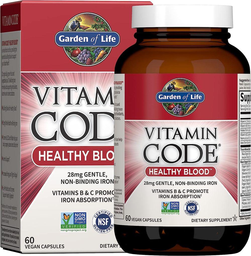 Garden of Life Vitamin Code Iron Supplement, Healthy Blood - 60 Vegan Capsules, 28g Iron, Vitamins B, C, Trace Minerals, Fruit Veggies & Probiotics, Iron Supplements for Women Energy & Anemia Support