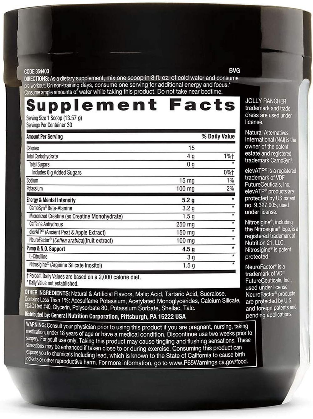 Beyond Raw LIT   Clinically Dosed Pre-Workout Powder   Contains Caffeine, L-Citruline, and Beta-Alanine, Nitrix Oxide and Preworkout Supplement   Jolly Rancher Watermelon   30 Servings