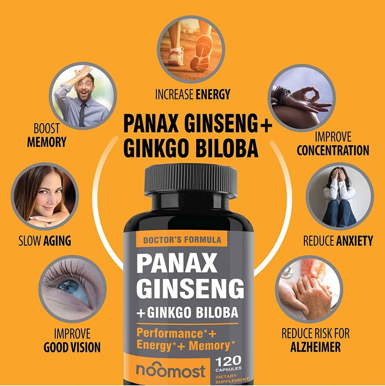 Authentic Korean Red Panax Ginseng + Ginkgo Biloba, 120 Vegan Capsules, Ginseng Root Extract Powder 1000mg (10% Ginsenosides) + Gingko Biloba 60mg, Energy and Focus Pills for Men and Women by NooMost