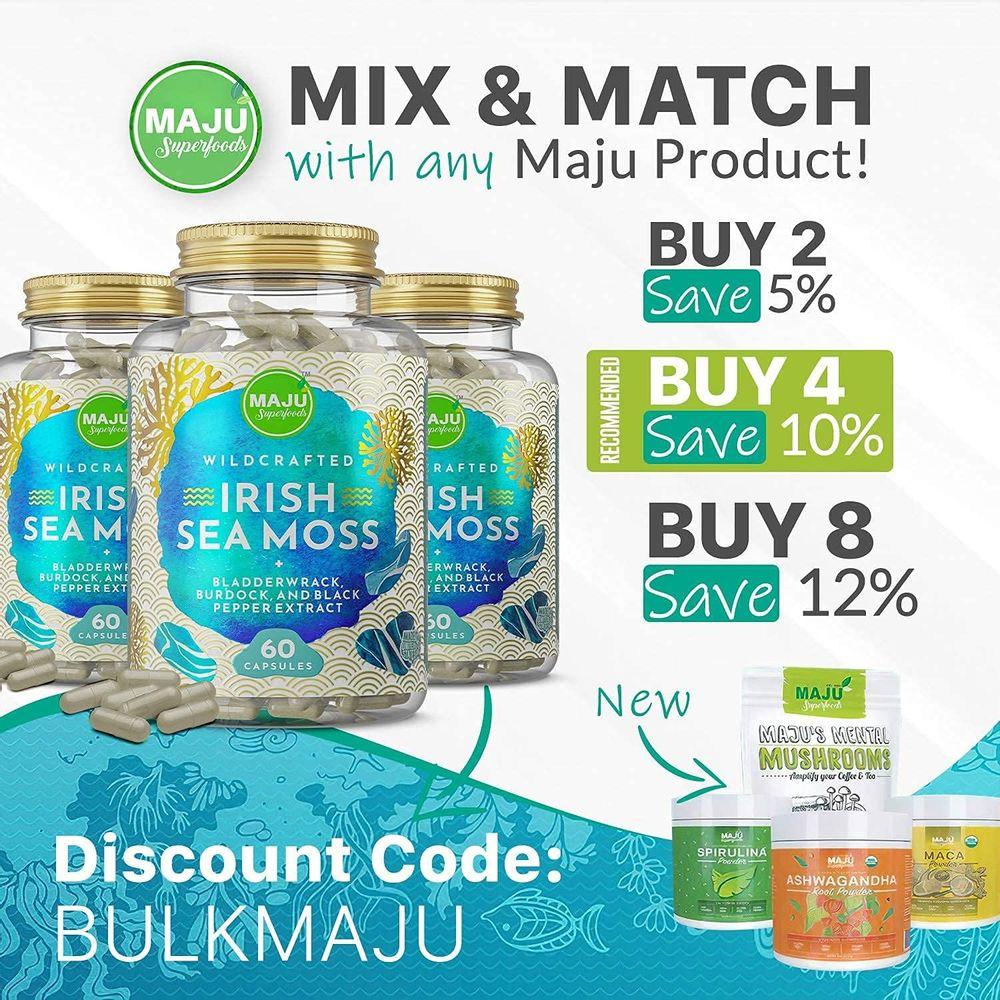 MAJU Wild Irish Sea Moss Capsules, Stronger Than Gel, 4-in-1 w/ Bladderwrack + Burdock Root, Organic, Sebi Inspired, Raw, Seamoss Pills Powder, Wild