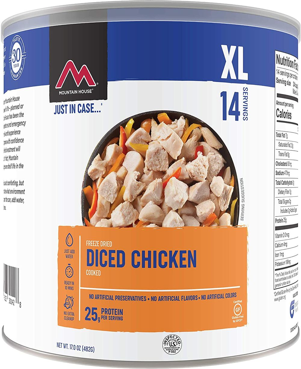 Mountain House Cooked Diced Chicken | Freeze Dried Survival & Emergency Food | #10 Can | Gluten-Free, 30235-Parent