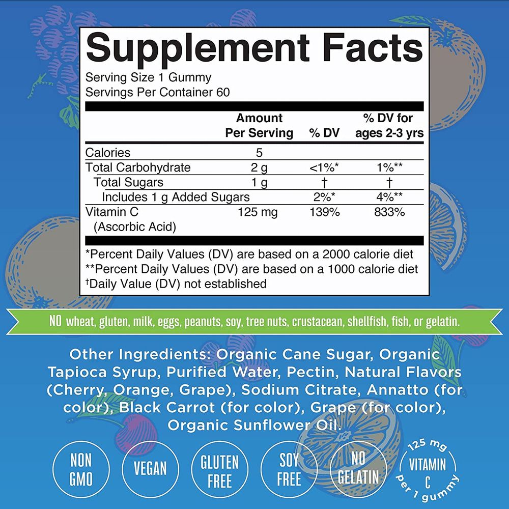 Vegan Vitamin C Gummies by MaryRuth's   2 Month Supply   Great Tasting Plant-Based Formula Supports Immune Function & Overall Health for Adults & Kids   Non-GMO with 125 mg of Vitamin C Per Gummy