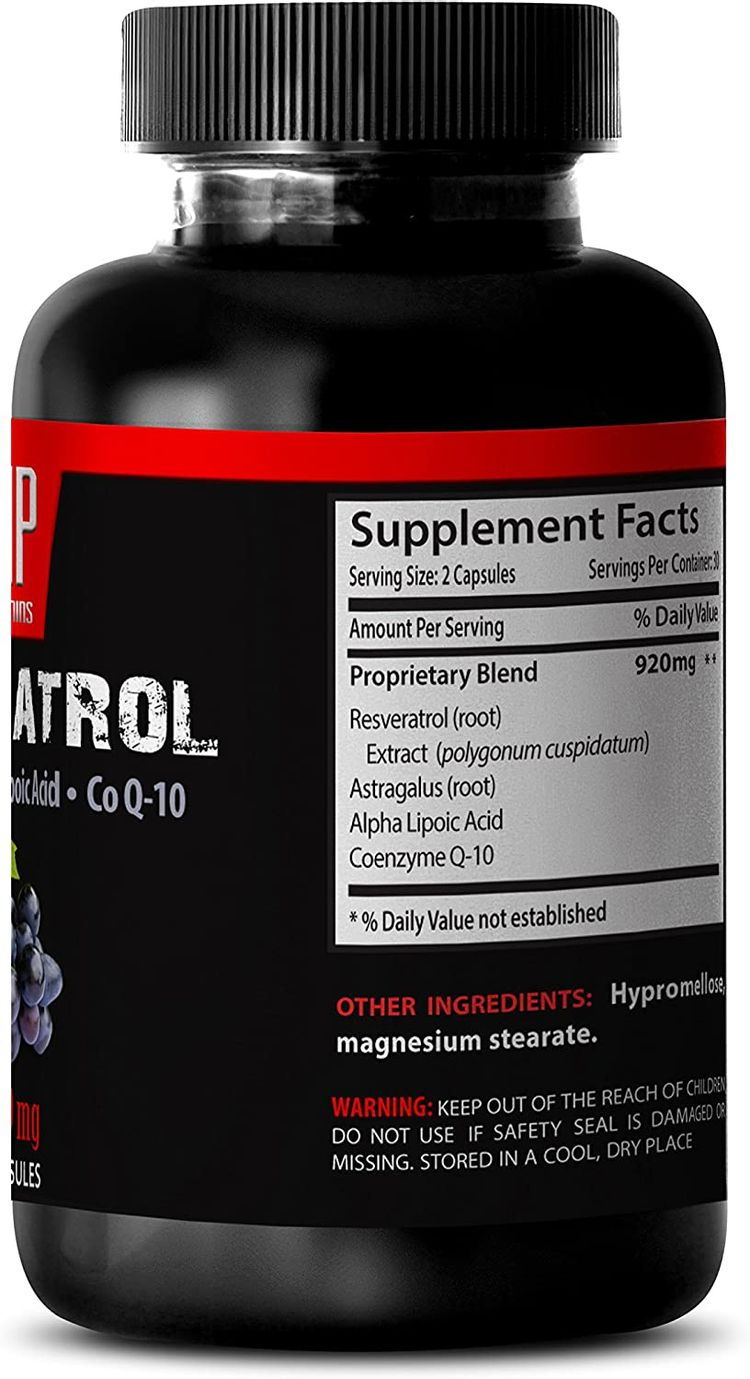 Resveratrol Extra Strength - Natural Grape Seed Extract and Antioxidant - to Promote Nerves System Support and Well-Being (1 Bottle 60 Capsules)
