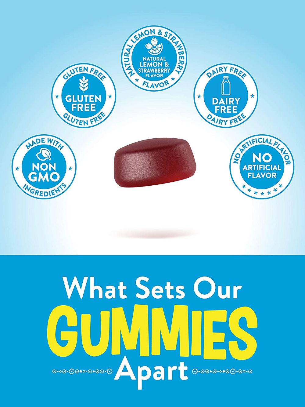 Stress Away Gummies | 48 count | with Gaba and L Theanine | Non GMO, Gluten Free Stress Relief Supplement | Lemon Strawberry Flavor | by Nature's Truth