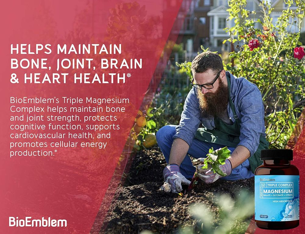BioEmblem Triple Magnesium Complex | 300mg of Magnesium Glycinate, Malate, & Citrate for Muscle Relaxation, Sleep, Calm, & Energy | High Absorption | Vegan, Non-GMO | 90 Capsules