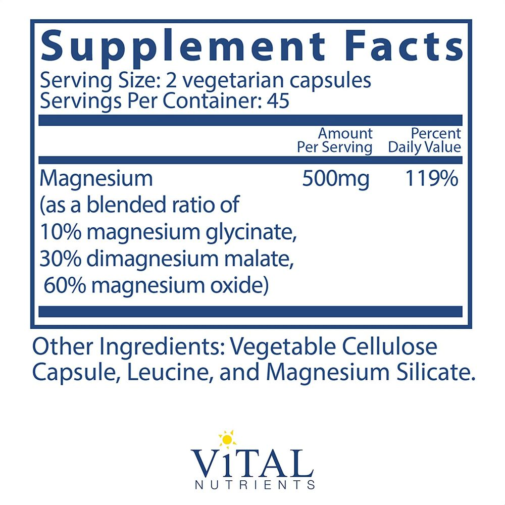 Vital Nutrients - Triple Mag - Magnesium Supplement for Enhanced Absorption and Metabolism - Contains Magnesium Oxide, Malate and Glycinate Vitamins - 90 Vegetarian Capsules per Bottle - 250 mg