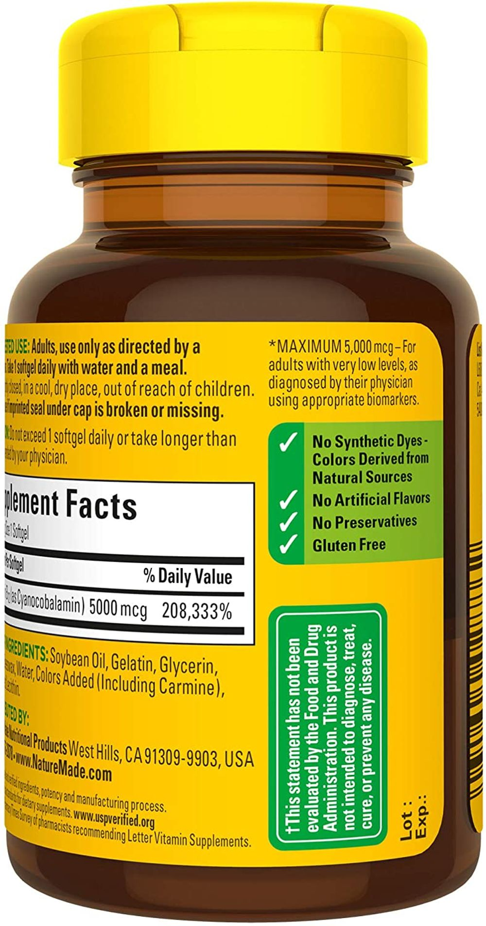Nature Made Maximum Strength Vitamin B12 5000 mcg, Dietary Supplement for Cellular Energy, 60 Softgels, 60 Day Supply