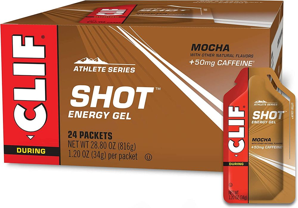 CLIF SHOT - Energy Gels - Mocha- Non-GMO - Non-Caffienated - Fast Carbs for Energy - High Performance & Endurance - Fast Fuel for Cycling and Running (1.2 Ounce Packet, 24 Count)