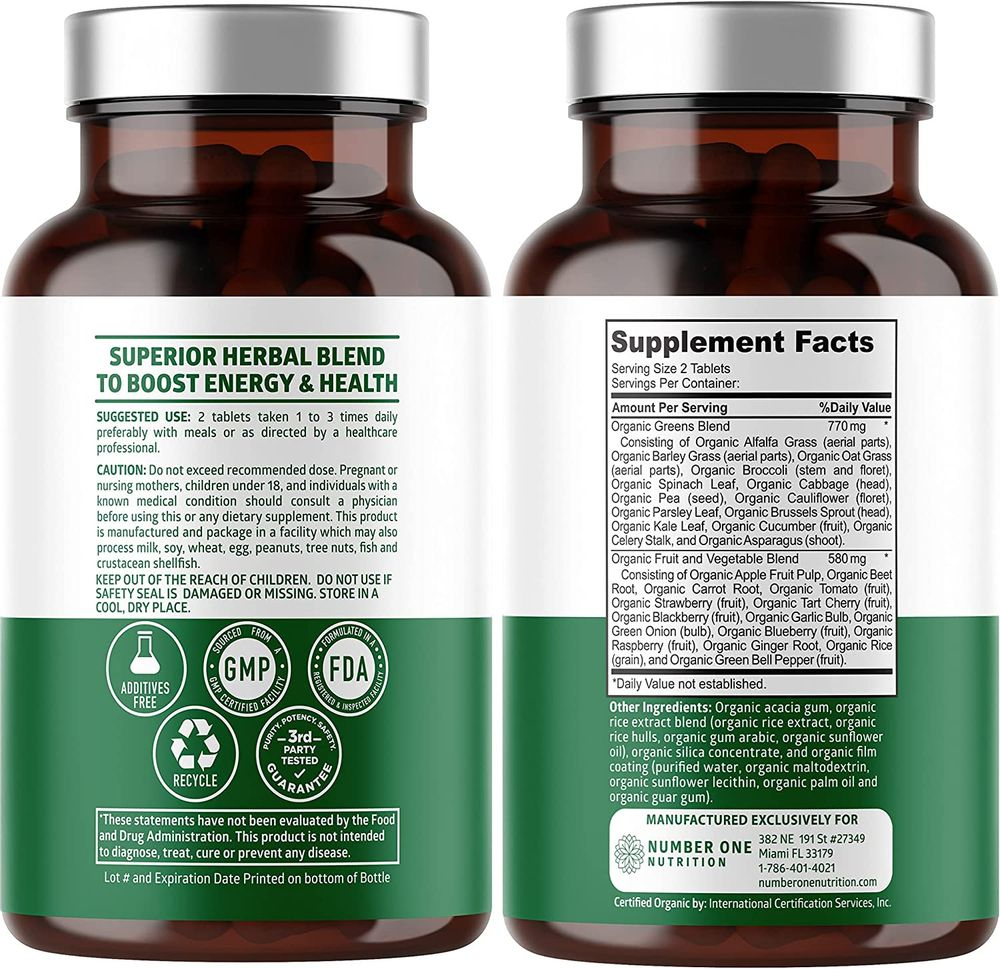 Number One Nutrition Premium Organic Superfood Greens, Fruits&Veggies [28 Powerful Ingredients] All Natural Supplement with Alfalfa, Beet Root&Tart Cherry to Boost Energy, Immunity&Gut Health, 60 Ct