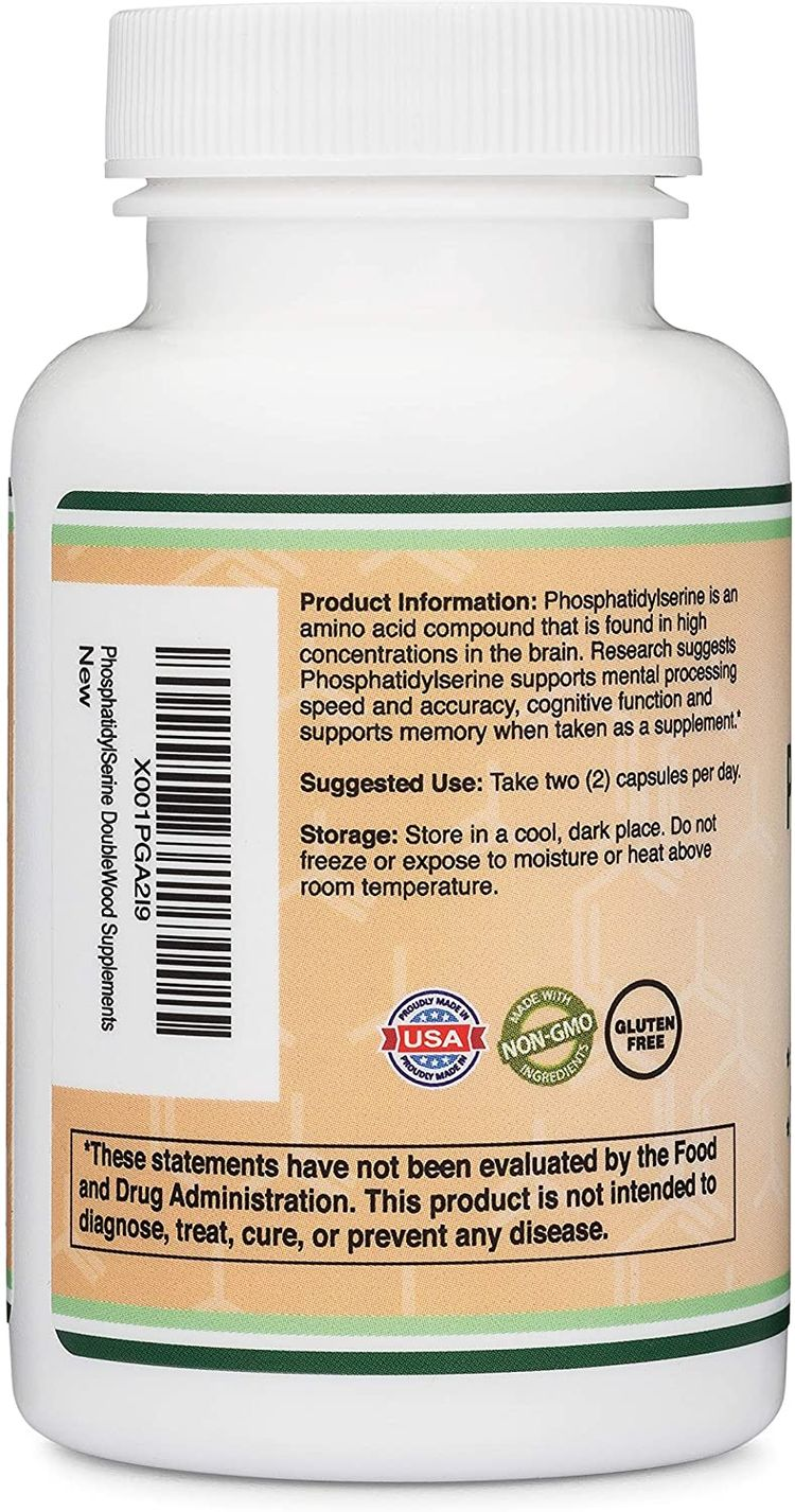 PhosphatidylSerine 300mg Per Serving, Made in the USA, 120 Capsules (Phosphatidyl Serine Complex) by Double Wood Supplements
