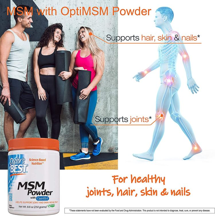 Doctor's Best MSM Powder with OptiMSM, Non-GMO, Vegan, Gluten Free, Soy Free, 250 Grams