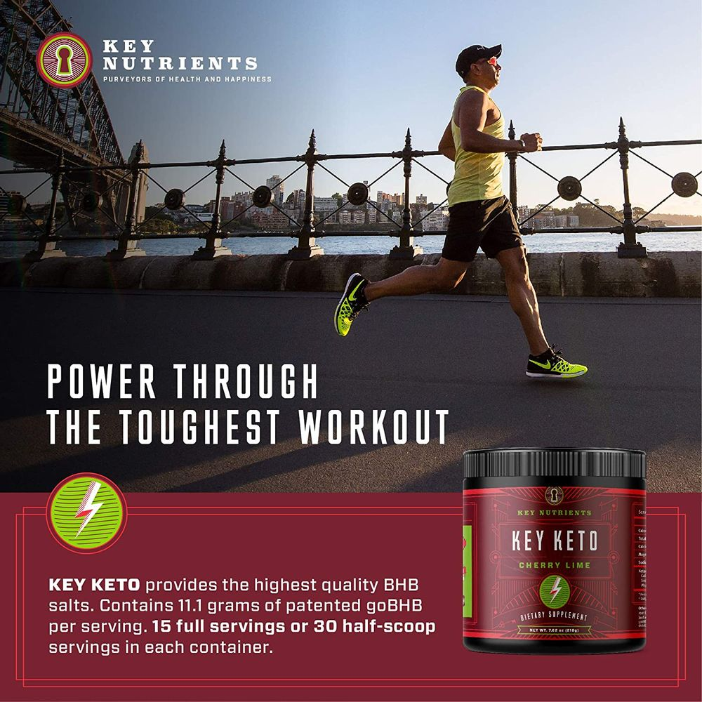 Exogenous Ketone Supplement, Key Keto: Patented BHB Salts (Beta-Hydroxybutyrate) - Formulated for Ketosis, to Burn Fat, Increase Energy and Focus, Supports a Keto Diet. Cherry Lime 15 Servings