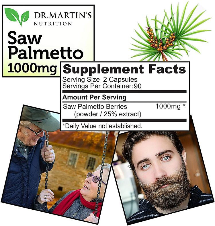 Super Strength Saw Palmetto, 180 Capsules Prostate Health Supplement ,Extract & Berry Powder Complex,Support to Help Maintain Normal Urination Frequency & Natural DHT Blocker To Help Prevent Hair Loss