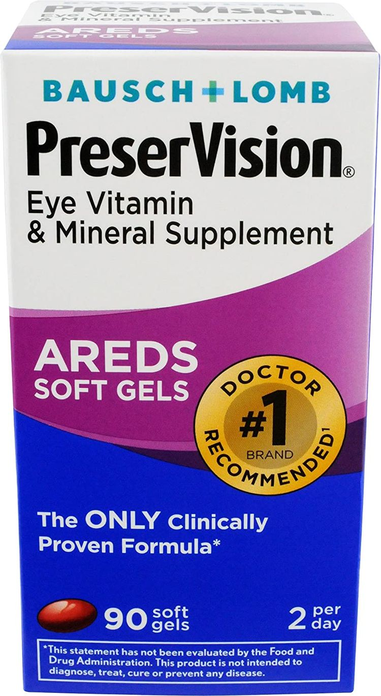 PreserVision AREDS Eye Vitamin & Mineral Supplement, Contains Vitamin C, A, E, Zinc & Copper, 90 Softgels (Packaging May Vary)