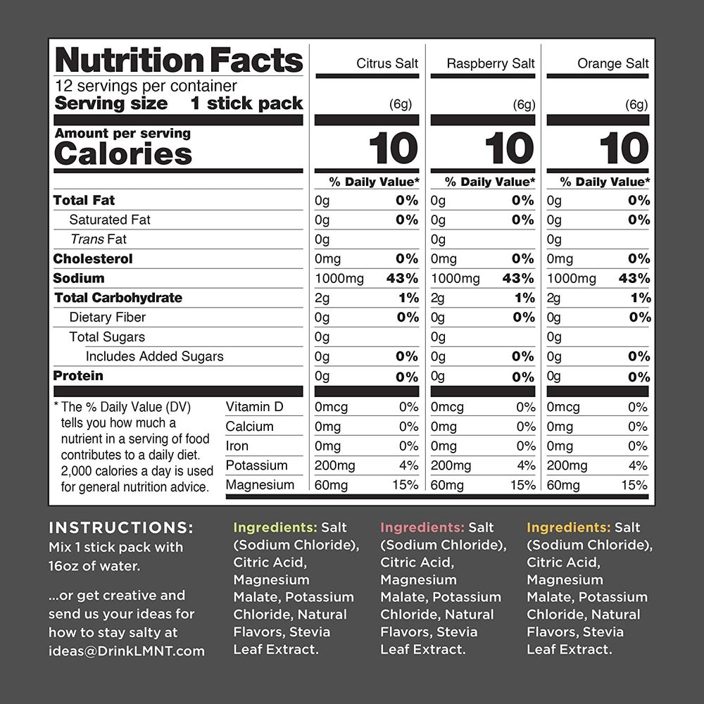 LMNT Recharge Electrolyte Hydration Powder   Keto & Paleo   No Sugar, No Artificial Ingredients   Variety Pack   12 Stick Packs