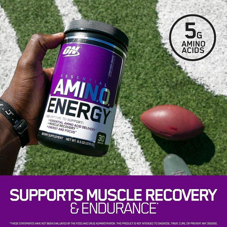 Optimum Nutrition Amino Energy - Pre Workout with Green Tea, BCAA, Amino Acids, Keto Friendly, Green Coffee Extract, Energy Powder - Peach Lemonade, 30 Servings