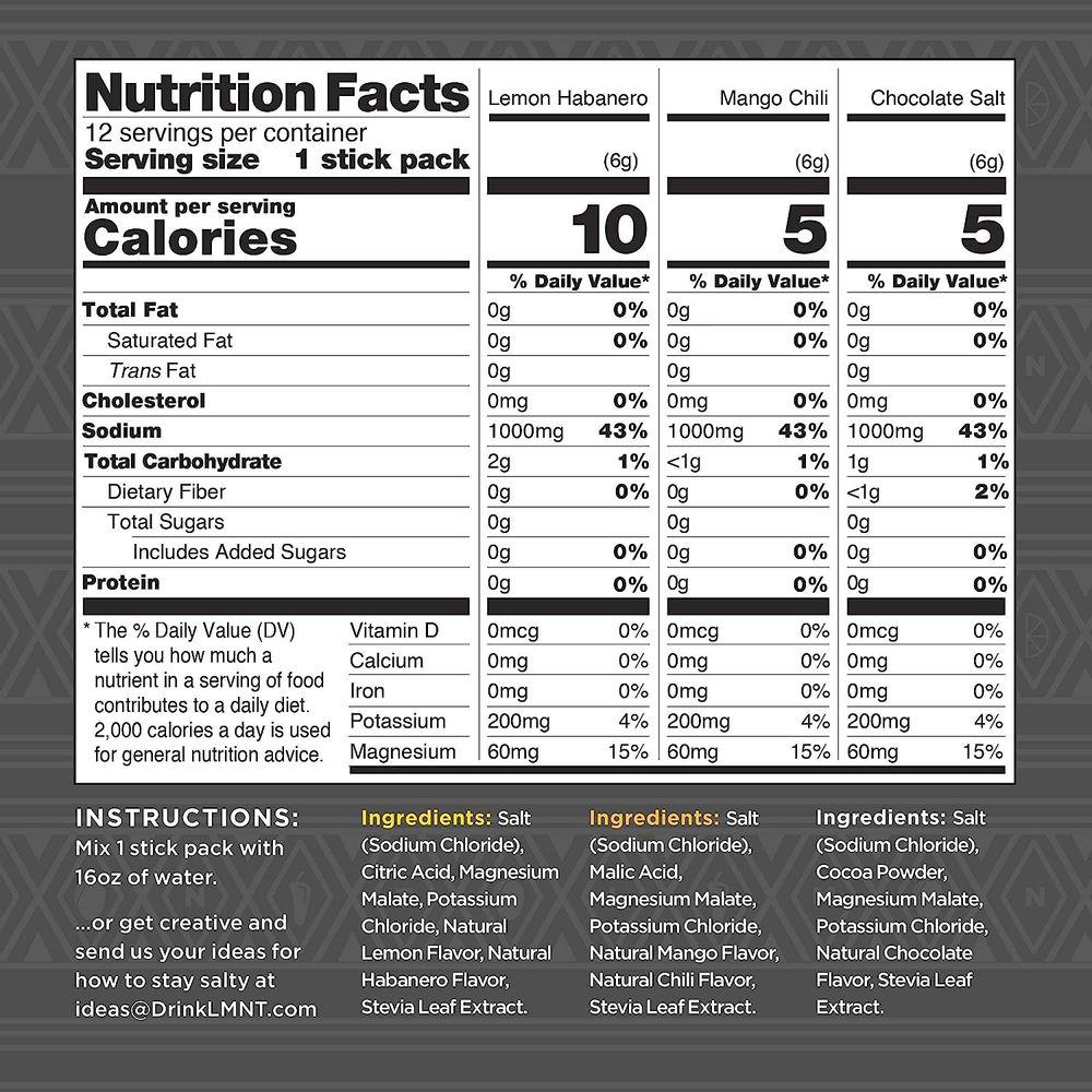 LMNT Keto Electrolyte Drink Mix   Paleo Hydration Powder   No Sugar, No Artificial Ingredients   Fiesta Pack   12 Stick Packs
